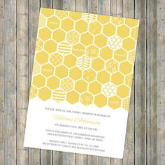 honey comb baby shower invitation, bee themed shower, digital, printable file (any colors). $13.00, via Etsy.