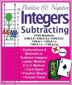 Students struggle to understand how to subtract positive & negative numbers! This is the perfect pack of materials to help students completely understand subtracting + & - Integers! School Resources, Math Resources, Negative Integers, Subtracting Integers, Negative Numbers, 7th Grade Math, Positive And Negative, Creative Teaching, Card Games