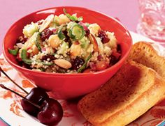 Spinach-Quinoa Salad with Cherries and Almonds..can't wait to try  this...maybe tomorrow.   With SOY yogurt, of course, or vegan mayo lightening with lemon juice (?).