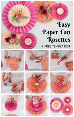 Learn how easy it is to make these beautiful paper fan pinwheel rosettes for your next event. Includes free templates to use with your Cricut machine! Paper Flowers Craft, Flower Crafts, Diy Paper, Paper Crafts, Diy Crafts, Paper Fan Decorations, Paper Rosettes, Cricut, Paper Fans