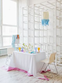 Art + watercolor inspired tablescape