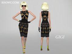 The Sims Resource: Gigi pencil dress by RHOWC • Sims 4 Downloads