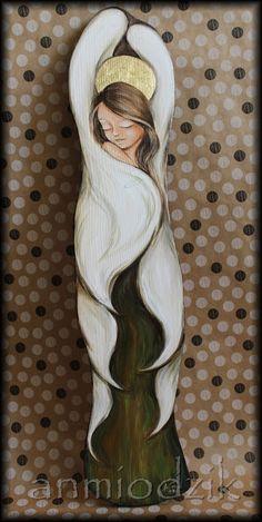 An Art Painted Bricks Crafts, Brick Crafts, Painted Rocks, Mother Daughter Art, Angel Crafts, Angel Art, Pretty Dolls, Cool Artwork, Lovers Art