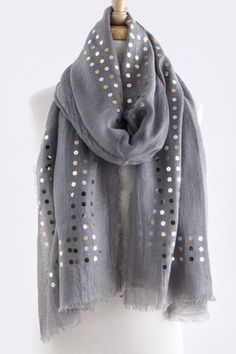 Gray sequin scarf