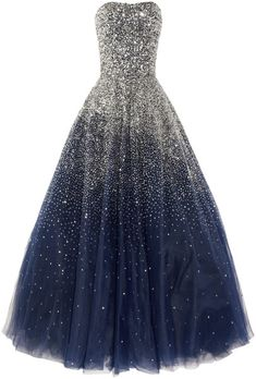 Marchesa Blue Sequined Strapless Silk Tulle Gown