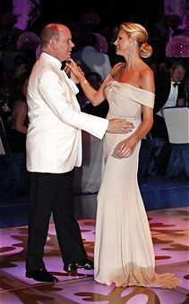 Prince Albert II of Monaco and his fiancee Charlene Wittstock dance during the Red Cross Ball in Monte Carlo July 30, 2010. The Red Cross ball is a traditional and annual charity event in the Principality of Monaco.