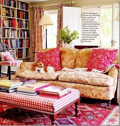 .I love this room.  The layers of color and the books and light all combine for the warmest room.