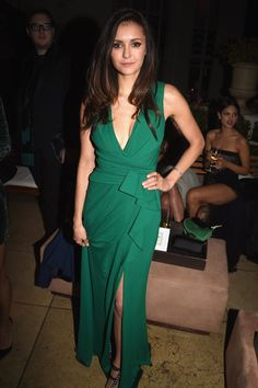 Pin for Later: If You Thought the Oscars Were All About the Gowns, You Need to See These Preparty Looks Nina Dobrev Nina showed off her curves in a low-cut green wrap design and John Hardy jewels at Michael Sugar's pre-Oscars party.