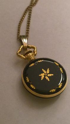 Vintage 17 Jewel pendant watch necklack black by PinkPigEmporium, $45.00 Awesome!!