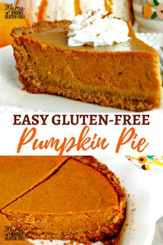 Making a homemade gluten-free pumpkin pie does not get any easier than this! A s… Making a homemade gluten-free pumpkin pie does not get any easier than this! A super simple crust made and a sweet and perfectly spiced pumpkin filling. Patisserie Sans Gluten, Dessert Sans Gluten, Gluten Free Pumpkin Pie, Gluten Free Baking, Gluten Free Pie Crust, Vegan Pumpkin Pie, Gluten Free Yeast Rolls, Pumpkin Pie Crust, Gluten Free Quiche