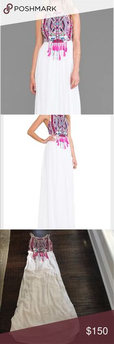 """Mara Hoffman Mirror Embroidery Maxi Dress In White 100% Rayon. Shoulder seam to hem measures approximately 64"""" length. Unlined. Adjustable shoulder straps. Embroidered bodice with Mirror disc accents. Tassel and bead fringe accents. Mara Hoffman Dresses Maxi"""