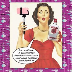 Items Similar To Selfie Queen Birthday Card Vodka Lover For Women Retro Funny Fifties Style On Etsy