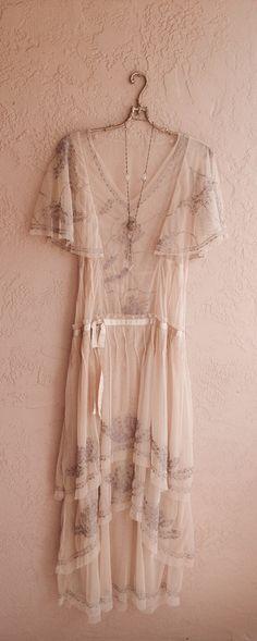 Sheer cape sleeve Romantic Lace Bohemian Dress