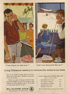 Long Distance direct dialing began about 1959 (before that one dialed zero and the operator placed the call)