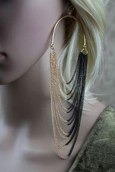 Large Hoop Chain Fringe Drape Hook Earrings (Gold/Black or Gold)