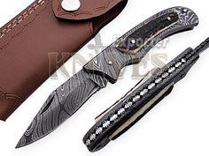 Knives Exporter Custom Damascus Steel Folding Knife Stag Horn Handle F-F50 #KnivesExporter