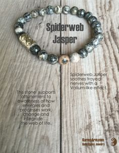 Trying to keep calm - but we're wild about these beautiful greyish green Spiderweb Jasper stones...KEEP CALM: Spiderweb Jasper Yoga Mala Bracelet