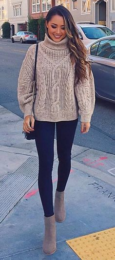 how to wear a knit sweater : bag   skinny jeans   boots
