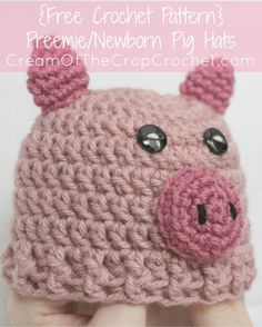 Cream of the Crop Crochet~Preemie/Newborn Pig Hats {free #crochet pattern} #handmade