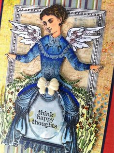Card by Barbara Smith working with Character Constructions art stamps, The Timekeeper's Garden collection.