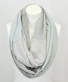 This Seafoam Stripe Color Block Infinity Scarf is perfect! #zulilyfinds