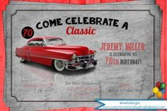 Classic car birthday party invitation how cool is this classic vintage car birthday party ! see more party ideas at catchmyparty com! 90th Birthday Parties, Dad Birthday, Birthday Nails, Birthday Celebration, Birthday Ideas, Vintage Car Party, Vintage Birthday, Invitation Fete, Invite