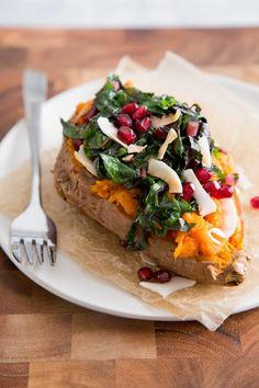 Recipe: Coconut & Rainbow Chard Baked Sweet Potato