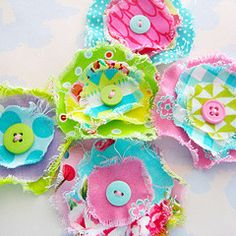 Laurie Star - fabric frayed flowers,love these