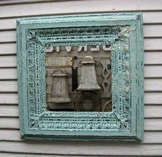 Tin Tile Mirror. Antique tin Circa 1900. Architectural salvage. FRAMED & Ready to Hang.