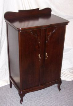 Antique Mahogany Music Cabinet made by Herzog #Victorian