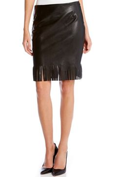 Karen Kane Faux Leather Pencil Skirt with Fringe available at #Nordstrom