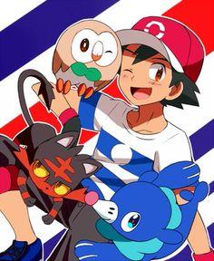 Ash Ketchum and the Alola Starters Pokémon