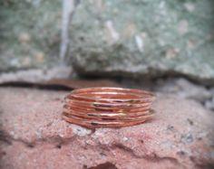 Pila martillado-rosa oro llena Set de anillos de 5 anillos martillados