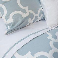 The Noe Blue Printed Duvet Set | Crane