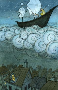 Illustration idea Kid's boat on the clouds, by Eliza Wheeler: children's book author and illustrator Art And Illustration, Book Illustrations, Illustration Children, Illustration Fashion, Inspiration Art, Art Inspo, Comic Sketch, Kids Boat, Oeuvre D'art