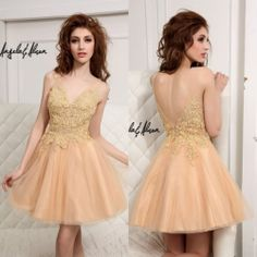 Beaded Appliques A Line V-Neck Short Backless Tulle Homecoming Cocktail Dresses