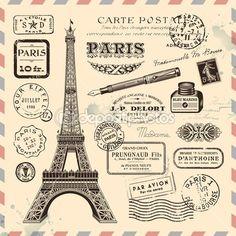 Elementos de diseño Paris franqueo — Vector de stock #48981647
