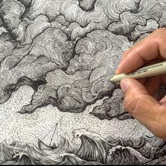 By Jeremy Collins There are curved lines in the clouds and in the waves. Art And Illustration, Ink Illustrations, Arte Sketchbook, Sketchbook Ideas, Ink Pen Drawings, Pen Art, Art Design, Drawing Techniques, Doodle Art