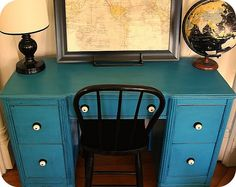The Modern Cottage desk re-do. Closest Sherwin Williams color is 0064 blue peacock. For the desk in the guest bedroom