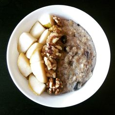 Poached pear porridge with raisins and walnuts. Seasoned with nutmeg, cinnamon and ginger. Lovely autumn brekkie.  #breakkie #breakfast #breakfastideas #vegan #veganbreakfast #veganinspiration #veganinspo #plantbased #plantbaseddiet #oats #porridge #food #healthydiet #healthyeating #eatingforhealth #eatingwell #goodfood #greatfood #healthyfood #tastyfood #tasty #yum #yummy #yummyfood  Yummery - best recipes. Follow Us! #tastyfood