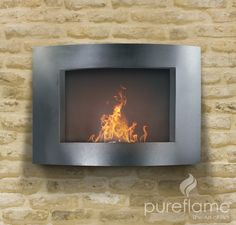 Adena Ethanol Biofuel Fireplace: Vent Free Mobile Fireplaces Using Ethanol Biofuel. No chimney. This one hangs on wall. Also tabletop versions.