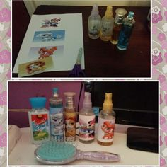 DIY child's vanity with their favorite characters, just print them, then tape them onto spray bottles ,brushes and lotions.