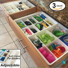 Amazon.com: Adjustable Drawer Dividers for Utility Drawer Kitchen Storage and Organization by Uncluttered Designs (3 Pack): Kitchen & Dining