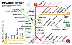 Metro: getting from Prague airport to city center Notes From Underground, London Underground, Subway Map, Nyc Subway, Transport Map, Public Transport, Prague Airport, Prague Restaurants, Metro Map