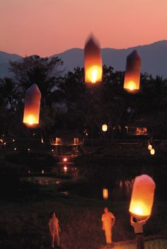 Light a wish lantern and send it towards the sky at @Four Seasons Resort Chiang Mai.