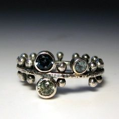 medieval ring silver and stones by sarawestermark on Etsy, $188.00