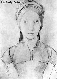 Portrait of The Lady Parker, a sketch by Hans Holbein the Younger, c. 1540.