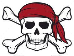 Pirate Skull, Red Bandanna and Crossed Bones Vector Illustration
