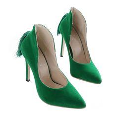 Back Heel Tassel Pointed Thin High Heel Low-cut Wedding Shoes green 35