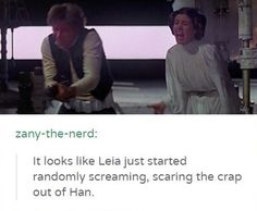 It looks like Leia just started randomly screaming, scaring the crap out of Han.